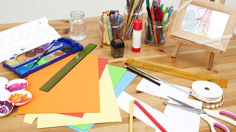 craft supplies on desk