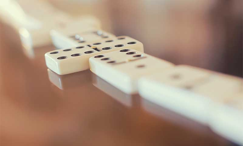 dominoes game closeup