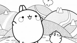 molang and piu piu black and white