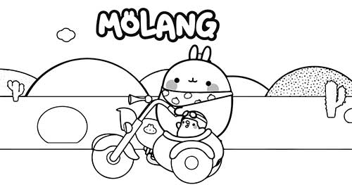 moland and piu piu on motorcycle in desert