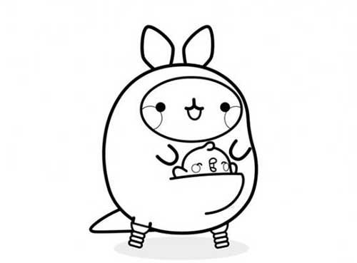 molang and piu piu as kangaroo
