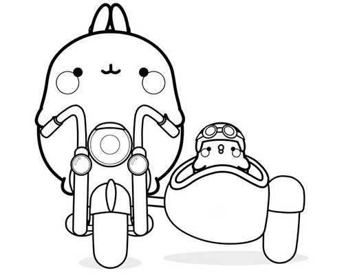 molang and piu piu in motorcycle with sidecar