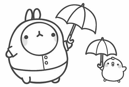 molang and piupiu ready for rain