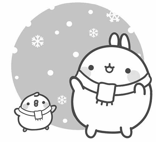 molang and piu piu in snow