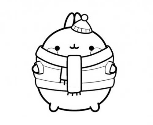 molang in winter coat, scarf and hat