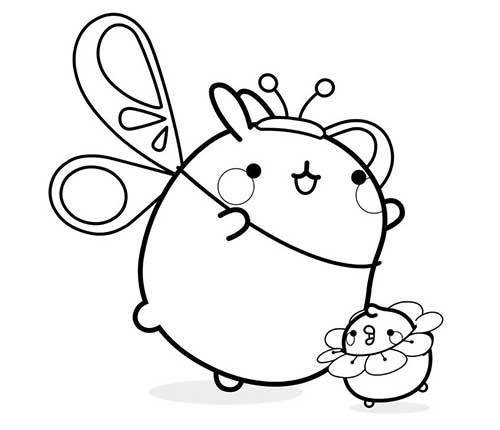molang and piu piu as a flower and butterfly