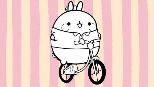 molang on a bike