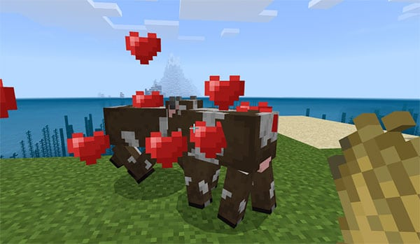minecraft cows hearts