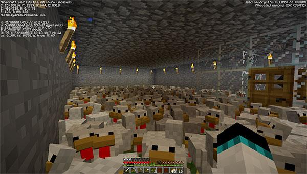 minecraft underground chicken farm