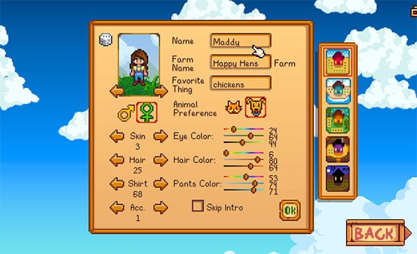 stardew character creation screen