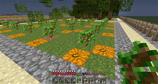 minecraft tree farm with pumpkins