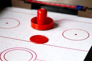 air hockey table closeup