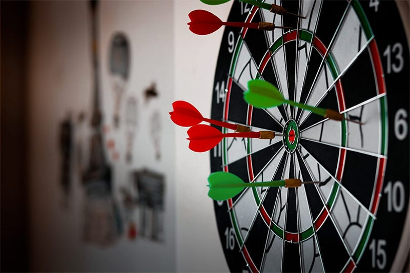 dartboard on office wall