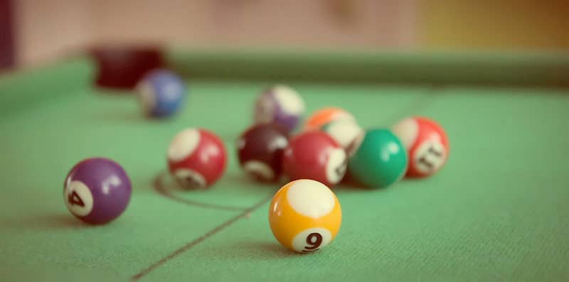pool balls closeup