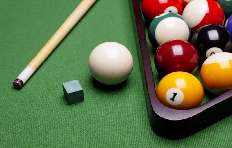 pool table and balls closeup