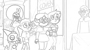 Luz, Willow, Gus, King, and Eda coloring page The Owl House