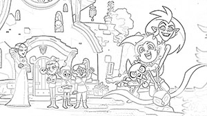 Lilith, Hooty, Amity, Gus, Willow, Kig, Luz, and Eda Coloring Page The Owl House