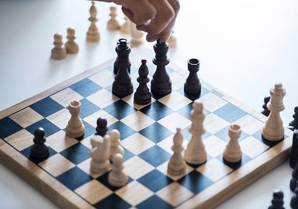 person playing chess alone